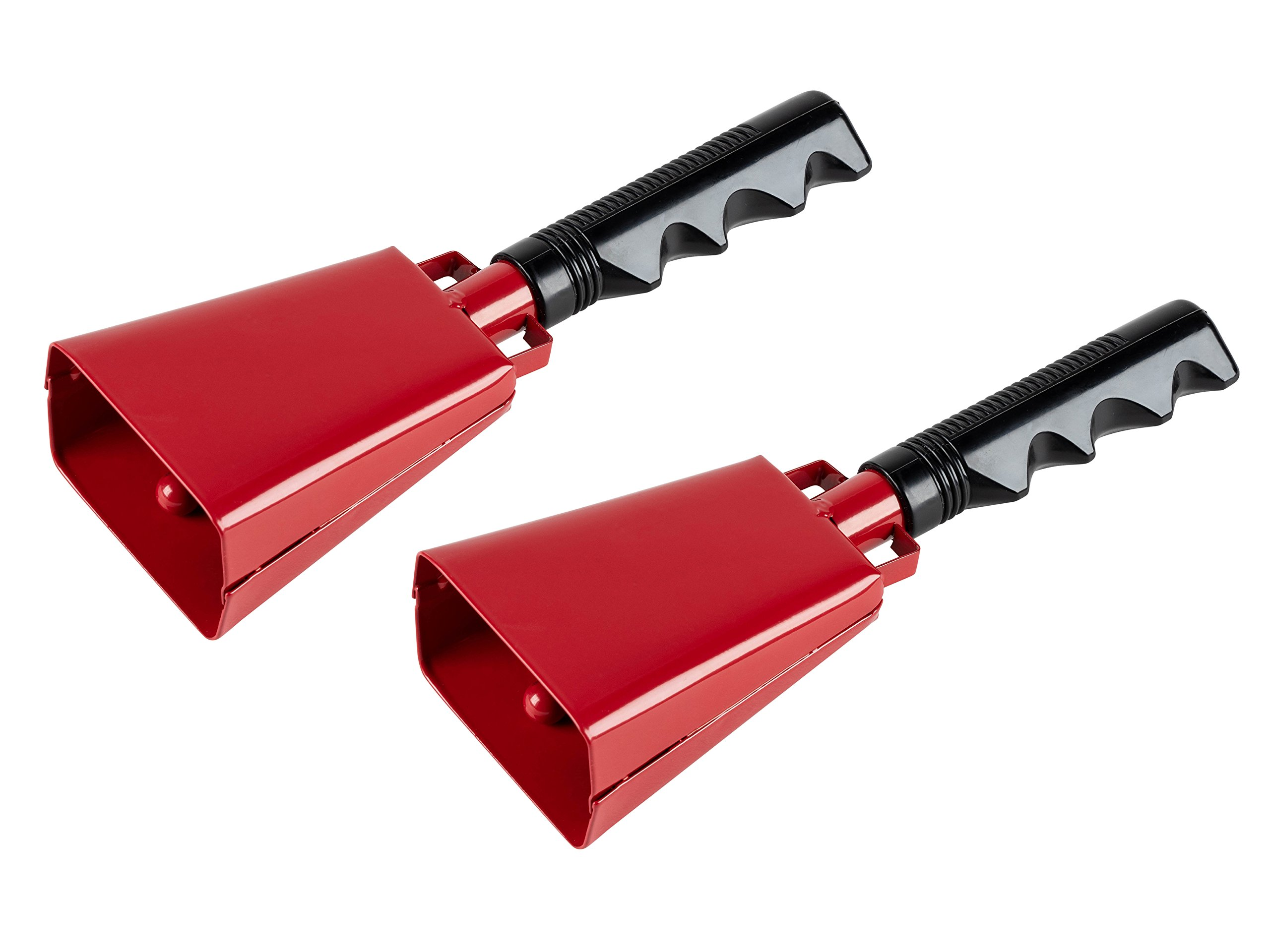 Cowbell with Handle - 2-Pack Cow Bell Noismakers, Loud Call Bells for Cheers, Sports Games, Weddings, Farm, Red, 3 x 9.125 x 2 Inches