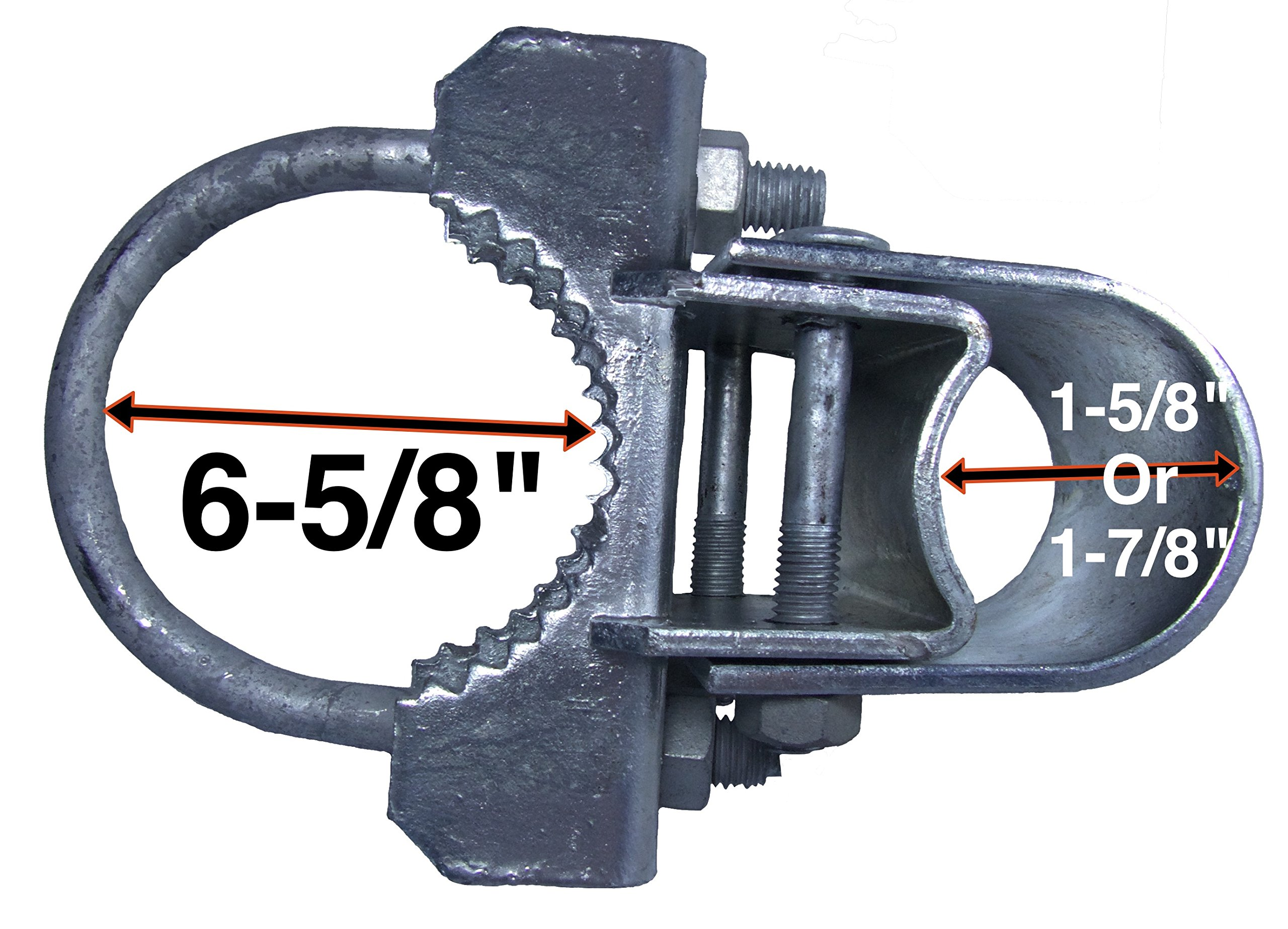 Chain Link Fence ''Bull Dog'' Commercial Duty Gate Hinge - For 6-5/8'' Outside Diameter Gate Post/Pipe & 1-5/8 thru 1-7/8'' Gate Frames - Galvanized Chain Link Post Gate Hinge - Hinge Nuts/Bolts Included by Chain Link Gate Hinge Hardware