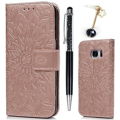 Funda para Samsung Galaxy S7, Libro Cuero Suave PU Premium Silicone TPU Carcasa Con Tapa y Cartera, Correa de mano, Soporte Plegable, Ranuras para ...