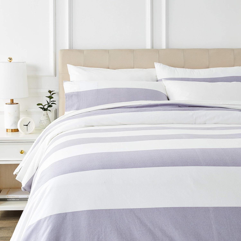 AmazonBasics - Juego de cama de franela con funda nórdica - 230 x 220 cm/50 x 80 cm x 2, Rayas grises