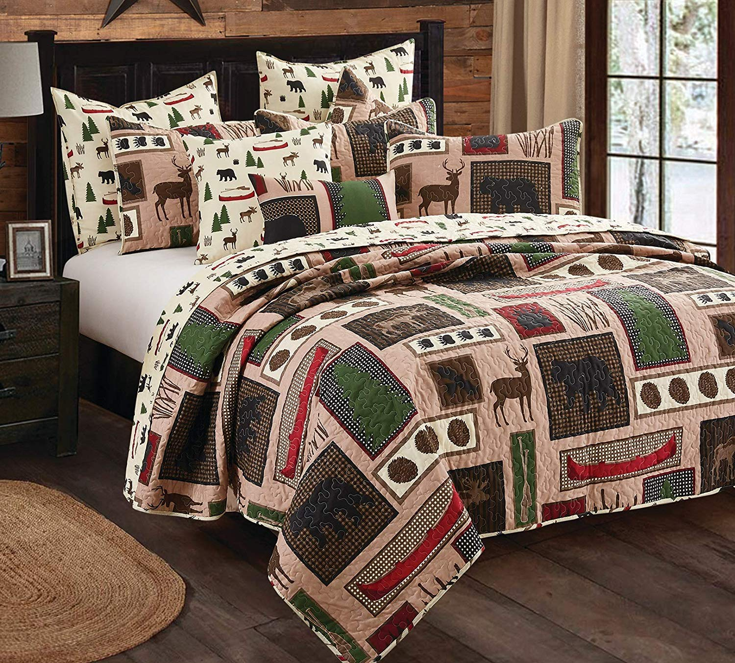 Virah Bella 3 Piece Lake Living Black Bear Moose Cabin Quilt Set (Queen/Full)