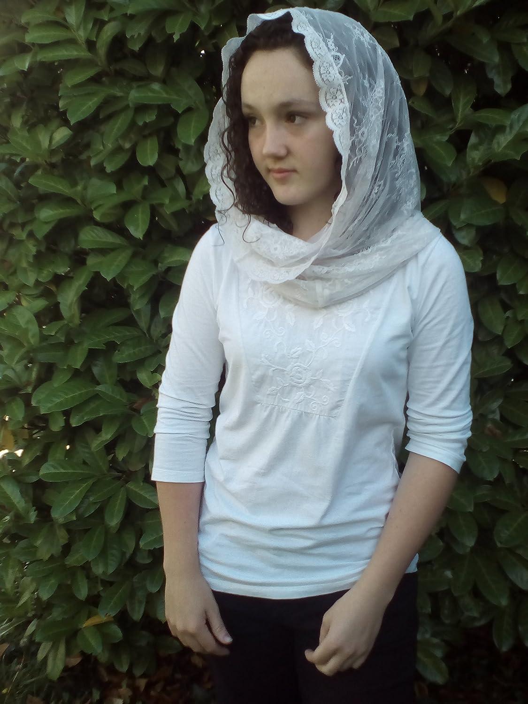 Spary of flowers mantilla, Infinity scarf veil