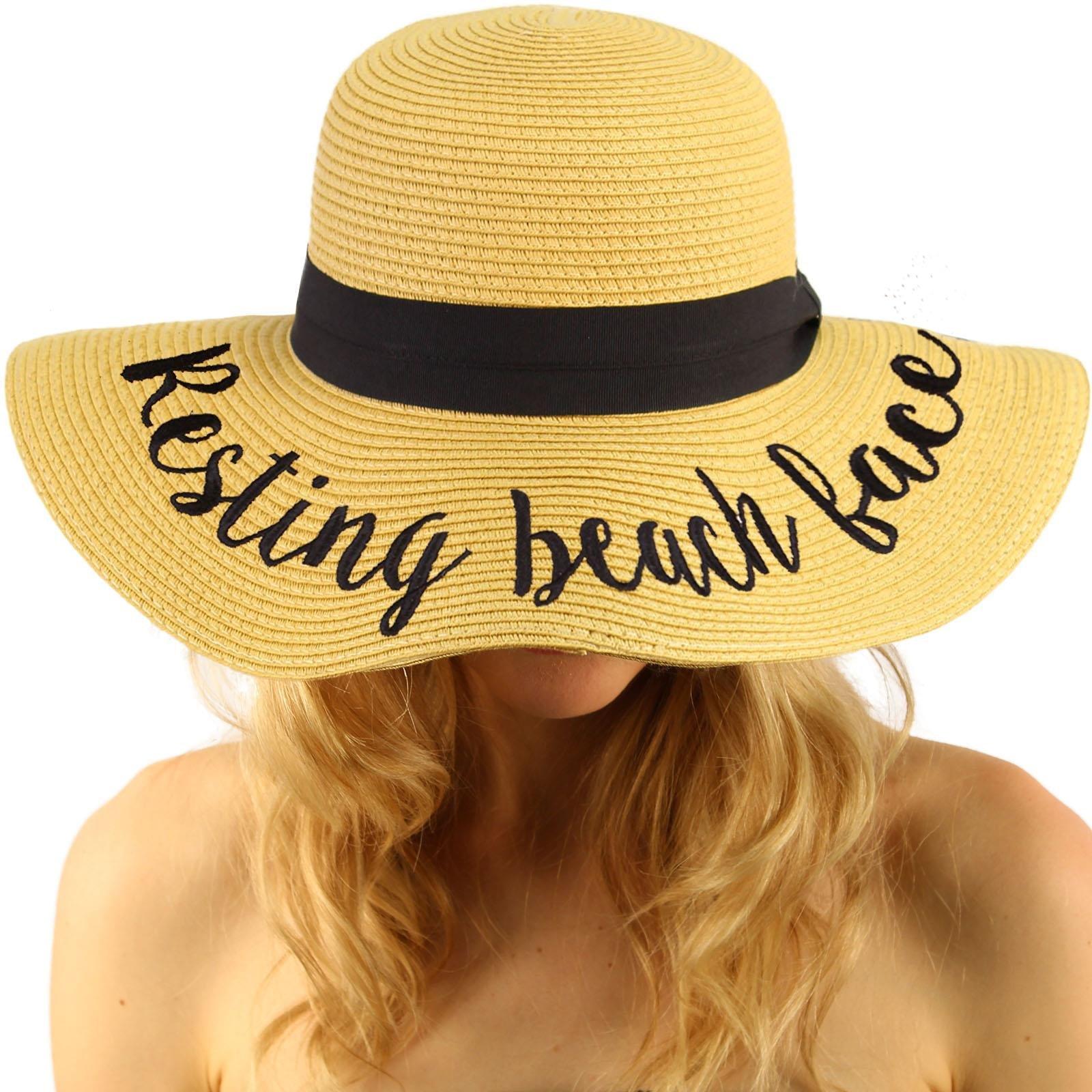 C.C Fun Verbiage Elegant Wide Brim 4 Summer Derby Beach Pool Floppy Dress Sun Hat Natural (R)