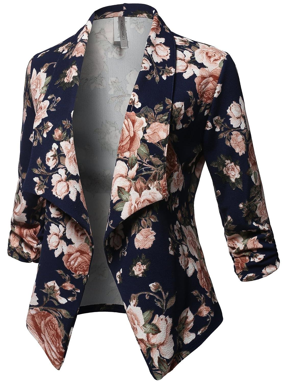 Awesome21 Women's Stretch 3/4 Gathered Sleeve Open Blazer Jacket