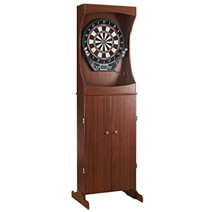 Outlaw Freestanding Dartboard And Cabinet Set   Cherry Finish