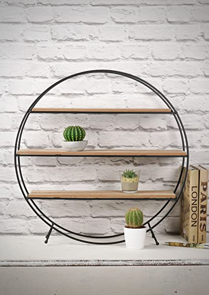 new concept 12ea1 d1e5a Whaleycorn Black Industrial Style Metal and Wood Circle ...