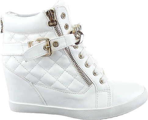 Sopily Chaussure Mode Baskets compensée Cheville Femmes Matelassé Talon compensé 8 CM Intérieur Textile BlancOr
