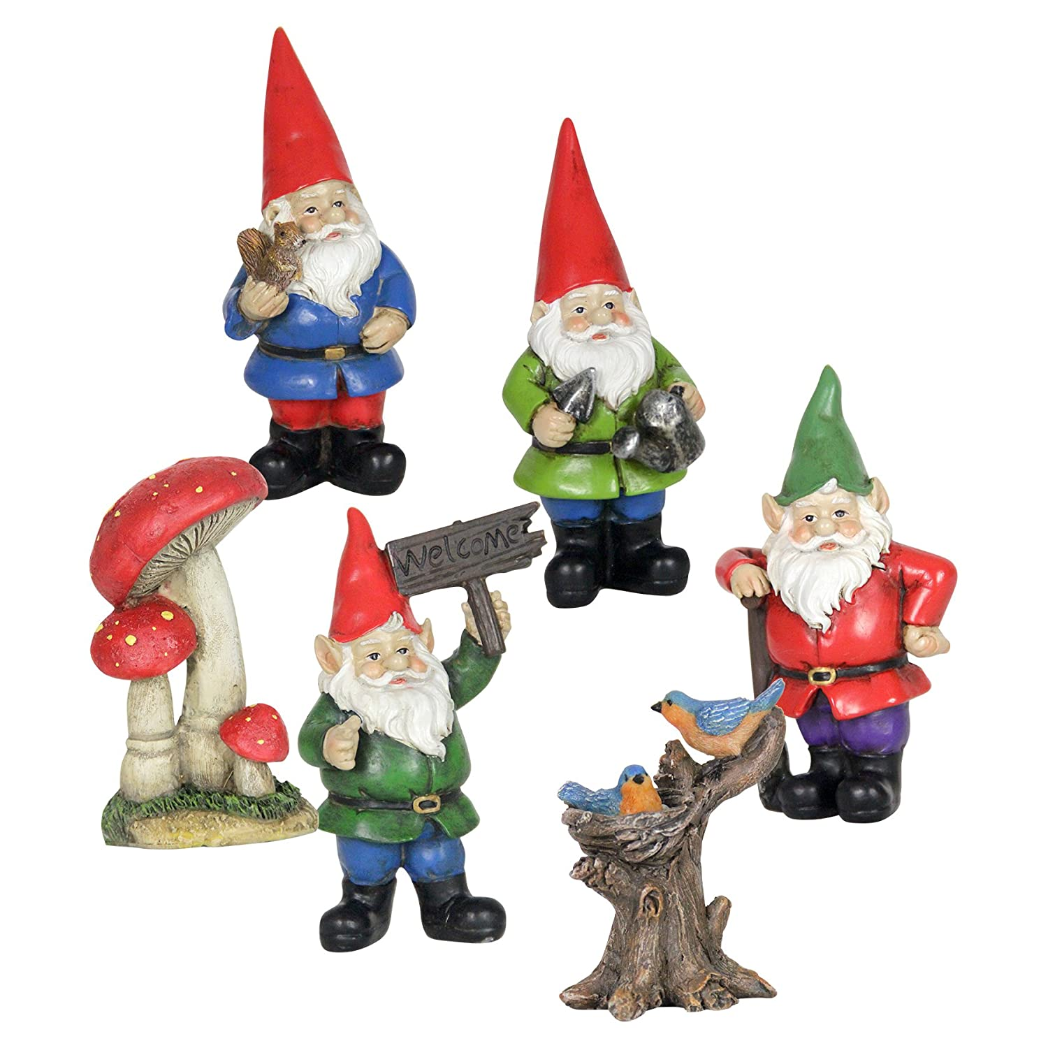 """Exhart Gnome Garden Miniatures 6-Piece Set Outdoor Resin Statues - Handcrafted Garden Figurines, 4 Whimsical Gnomes, Tree Trunk w/Birds & Red Toadstools - Fairy Tale Decor, 2.5"""" L x 2.5"""" W x 4"""" H"""