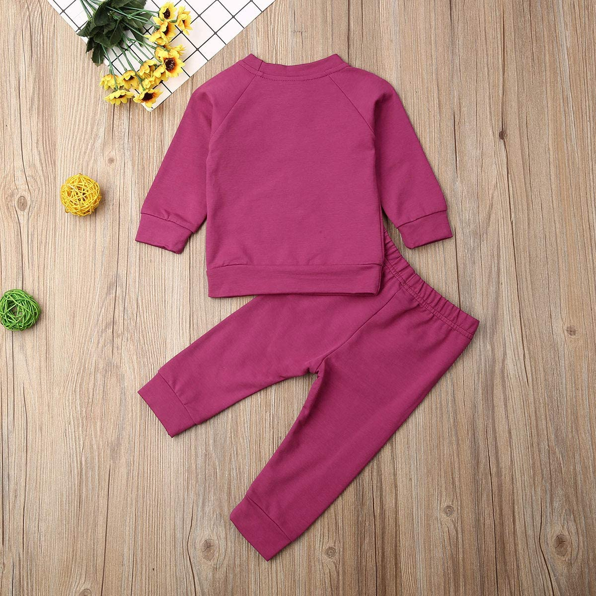 Toddler Baby Boy Girls Solid Color Clothes Kids Ruffle Long Sleeve T-Shirt Tops+Elastic Long Pants Leggings Outfit Set