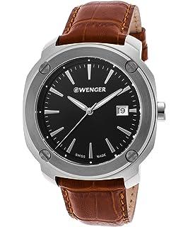 Wenger 01-1141-111 Mens Edge Index Brown Genuine Leather Black Dial Watch