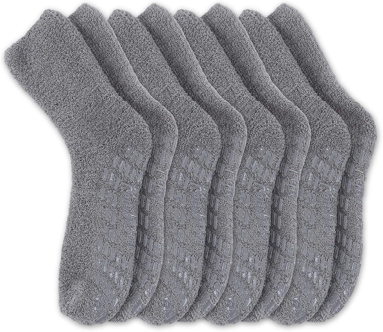 Pembrook Non Skid/Slip Socks – Fuzzy Slipper Hospital Socks (4 - Pairs) – Great for adults, men, women.