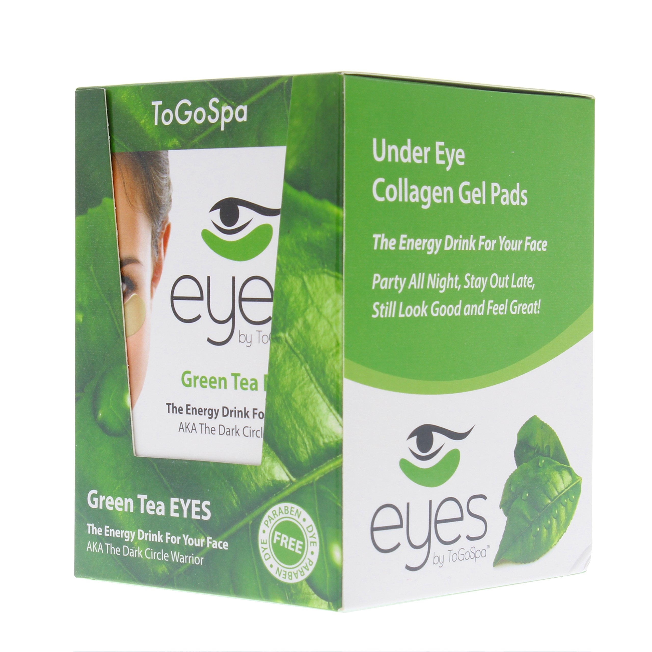 Green Tea EYES by ToGoSpa – Premium Anti-Aging Collagen Gel Pads for Puffiness, Dark Circles, and Wrinkles – Under Eye Rejuvenation for Men & Women - 10 Pack – 30 Treatments