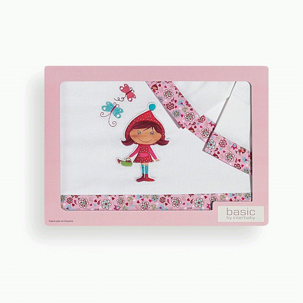 couleur blanc et rose Parure de draps pour berceau /« Le petit chaperon rouge /»