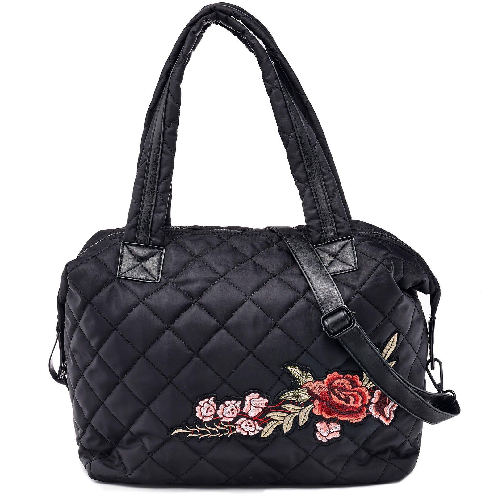 Dream Control Floral Emb Quilted Nylon Tote Shopping Shopper Shoulder Bag Black