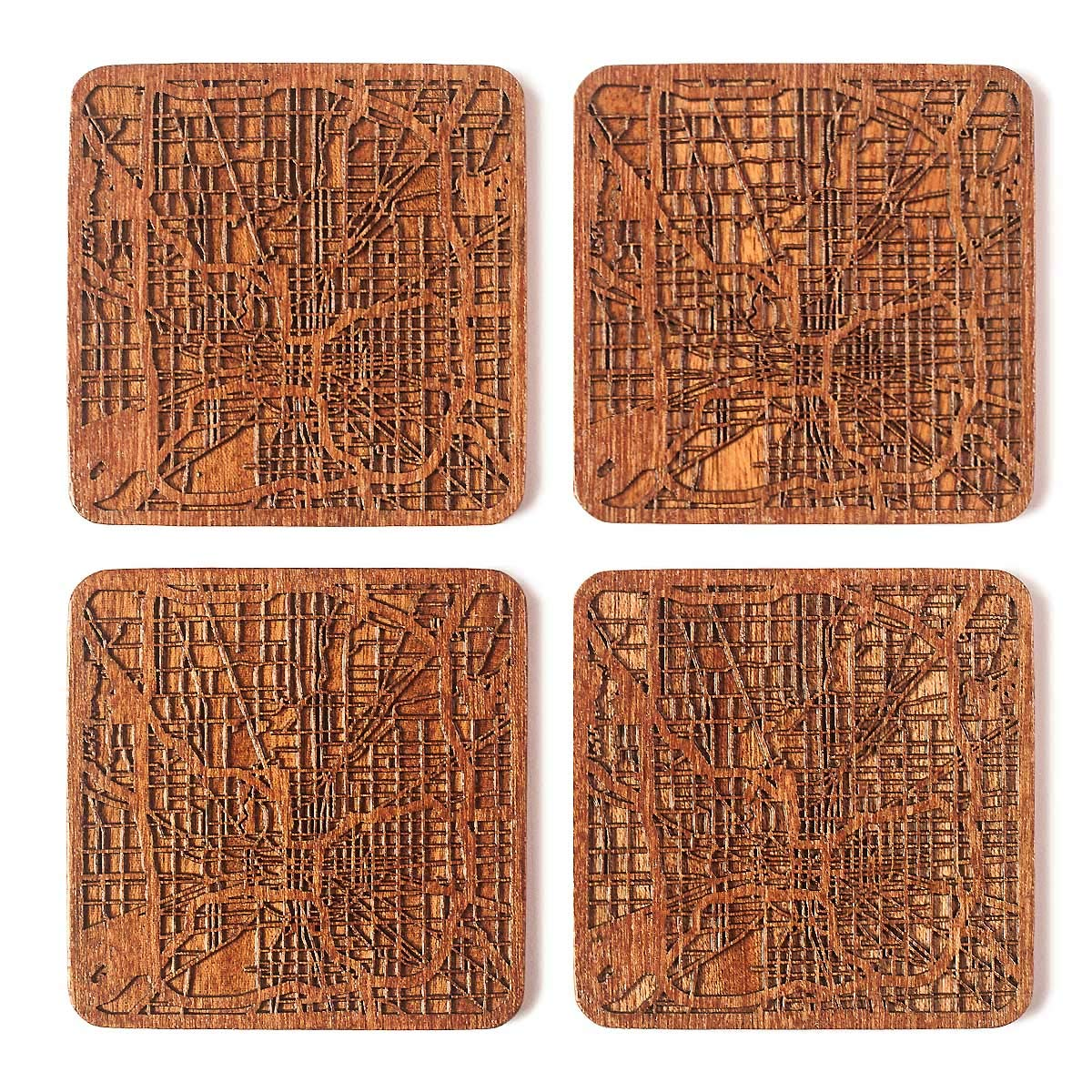 Indianapolis Map Coaster, Set of 4, Sapele Wooden
