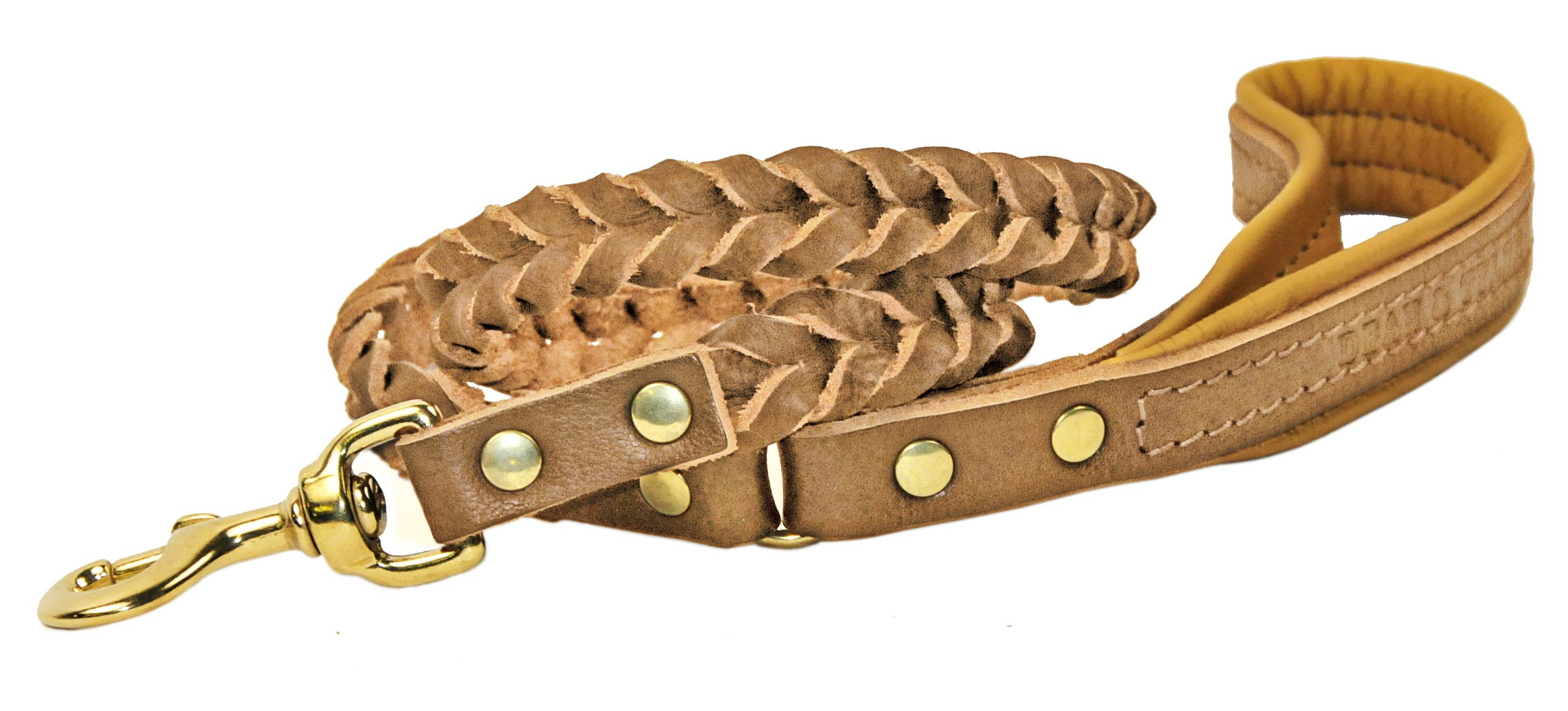 Dean & Tyler Comfort Braid Dog Leash with Brown Nappa Padded Handle and Solid Brass Hardware, 4-Feet by 3/4-Inch, Tan