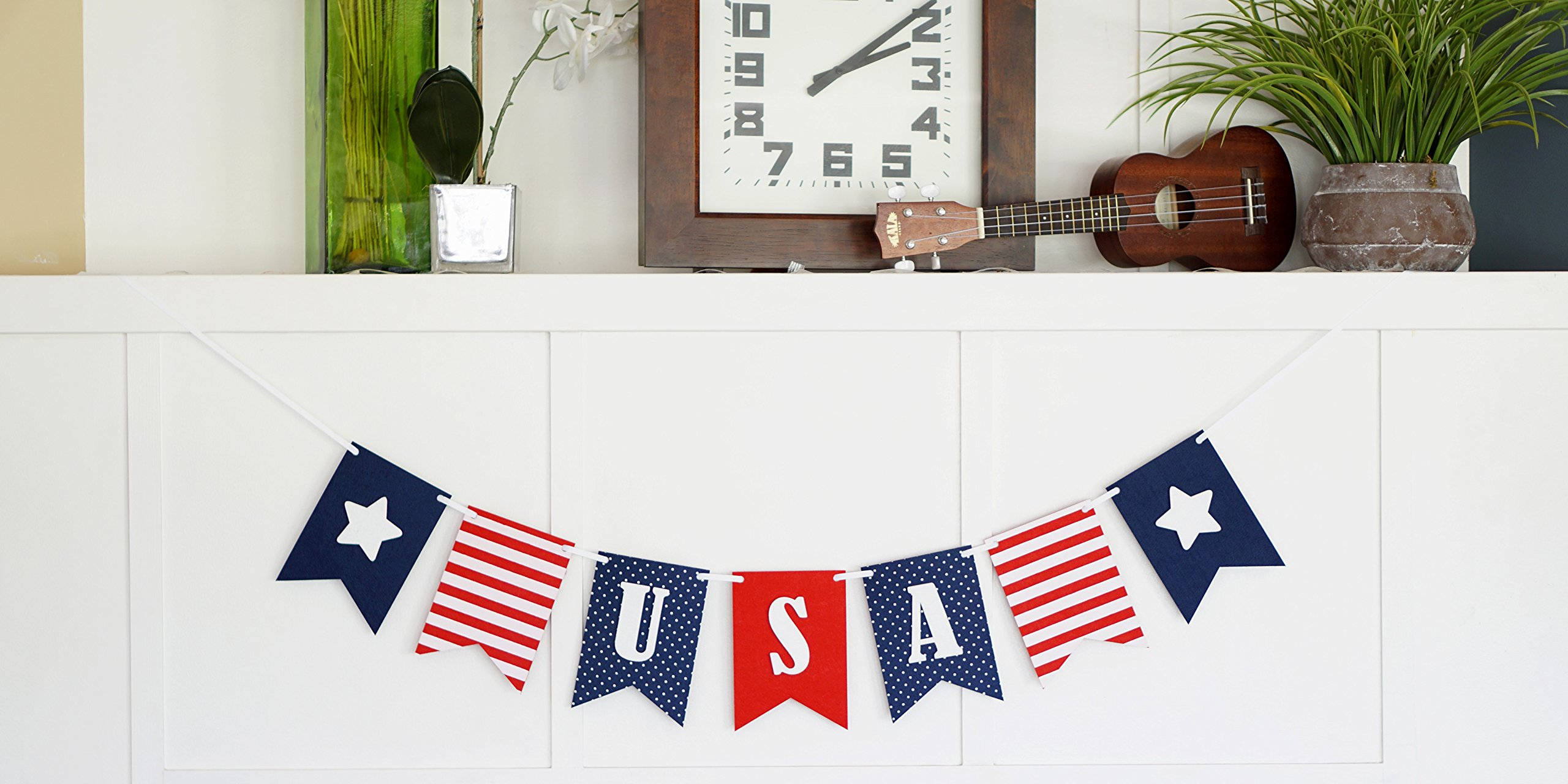 USA Banner Bunting Laser Cut Felt 40 inches wide - Patriotic Americana Red, White, & Blue America! by Decomod (Image #3)