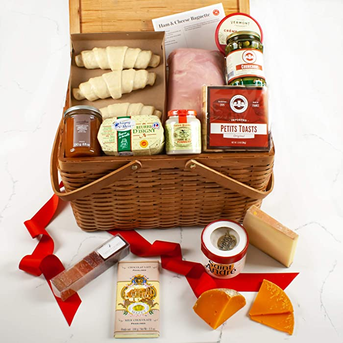 Martha Stewart French Picnic Gift Basket - Includes Award-Winning French Cheeses, French Ham, Delicious French Chocolate, Apricot Jam, Butter Croissants And More Surprises