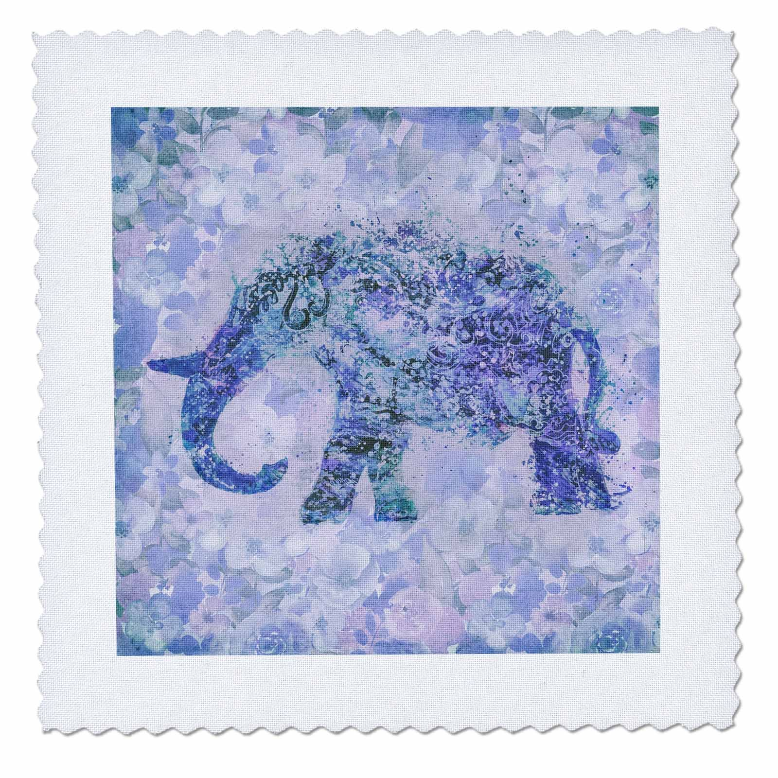 3dRose Andrea Haase Animals Illustration - Floral Elephant Illustration In Shades Of Blue And Purple - 22x22 inch quilt square (qs_276225_9)
