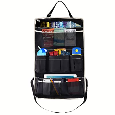 MoKo Multi-Pocket Car Backseat Organizer, Kick Mat Seat Back Protector, Foldable Travel Storage Bag Holder for Book/Bottle/Cool Beer/Tissue Box/Toys (Black & Beige): Automotive