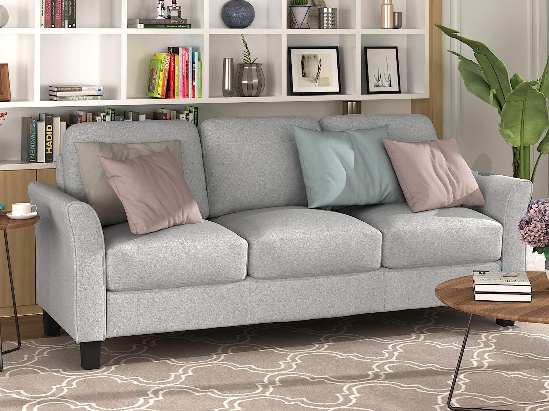 Harper&Bright Designs 3-Seat Sofa Living Room Linen Fabric Sofa Upholstered Sofa with Cushion Back (Light Gray)