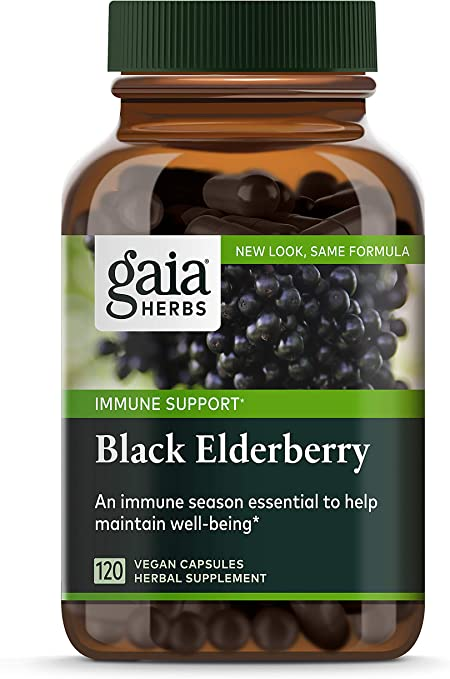 Gaia Herbs Black Elderberry Powder Capsules, Organic Sambucus Elderberry Extract for Daily Immune and Antioxidant Support, Vegan Supplement, 120 Count
