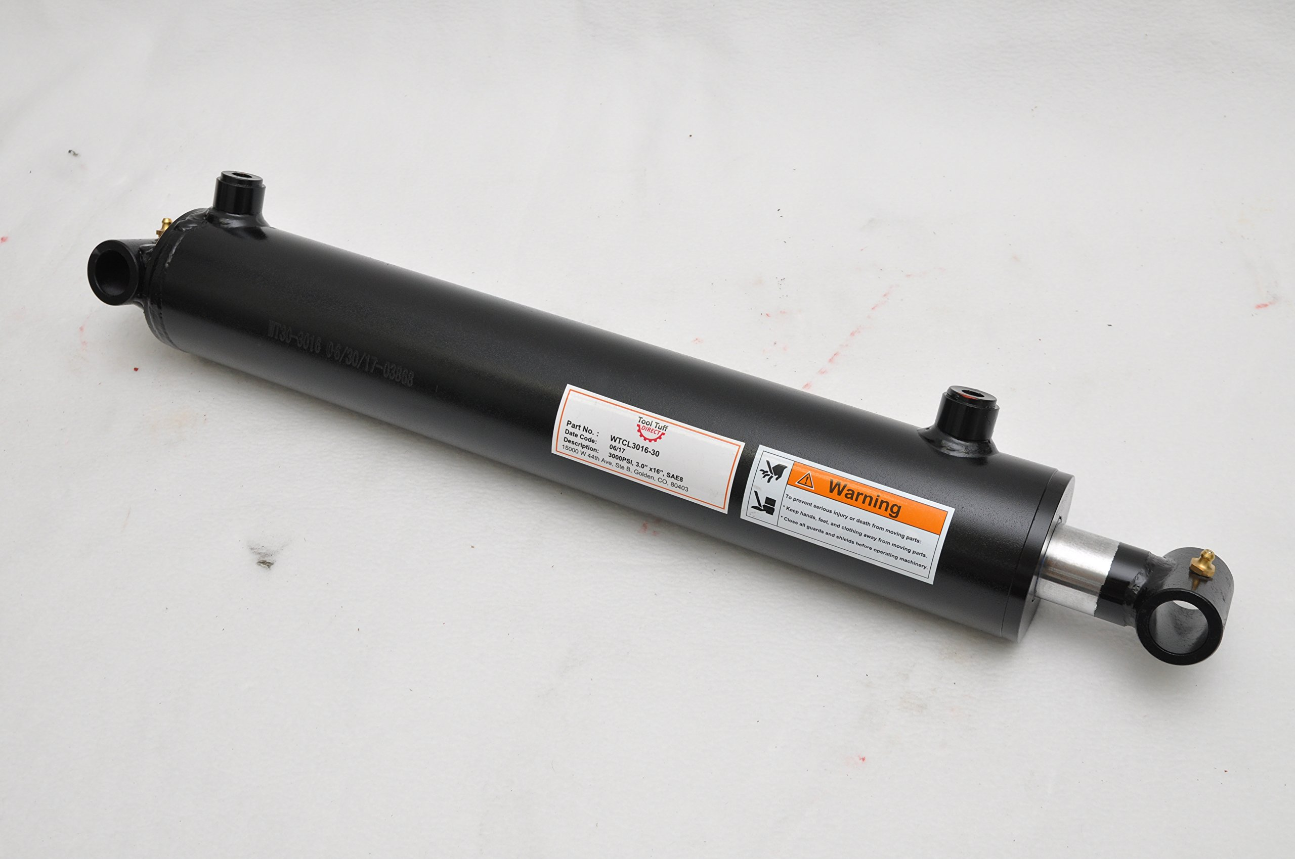 3'' Bore x 16'' Stroke Welded Cross Tube Tie Rod Cylinder 3000 PSI, SAE Ports
