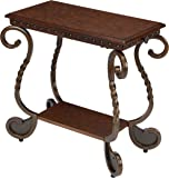 Ashley Furniture Signature Design - Rafferty Chairside End Table - Antique Finish with Metal Base - Rectangular - Dark Brown