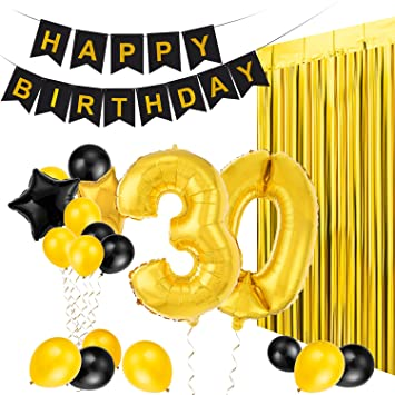 MeiHoyo 30th Birthday Decorations Happy Banner Party Kit Pack B Day Celebration Supplies With