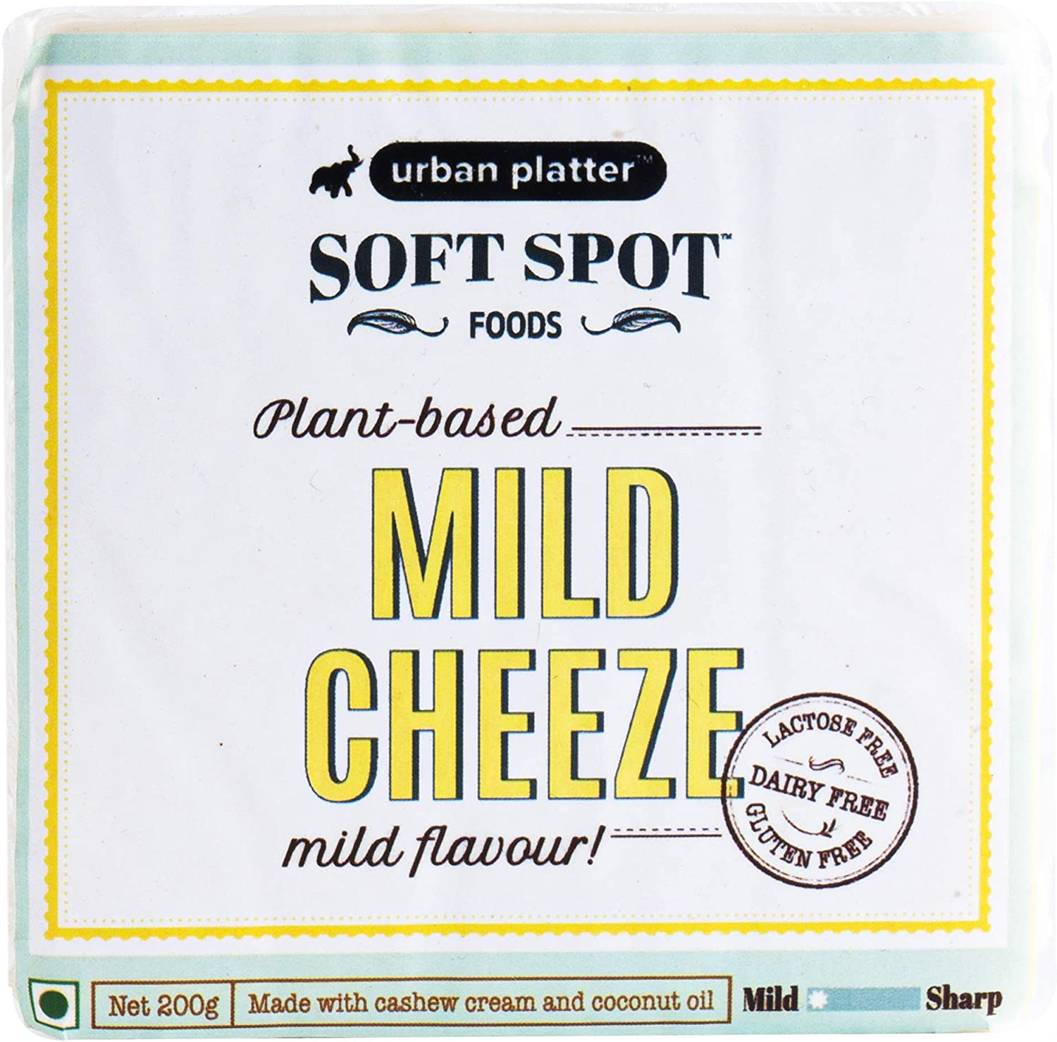 Urban Platter Vegan Mild Cheeze, 200g / 7oz [Mild Flavoured Cheese, Lactose-Free, Powered by Soft Spot Foods]