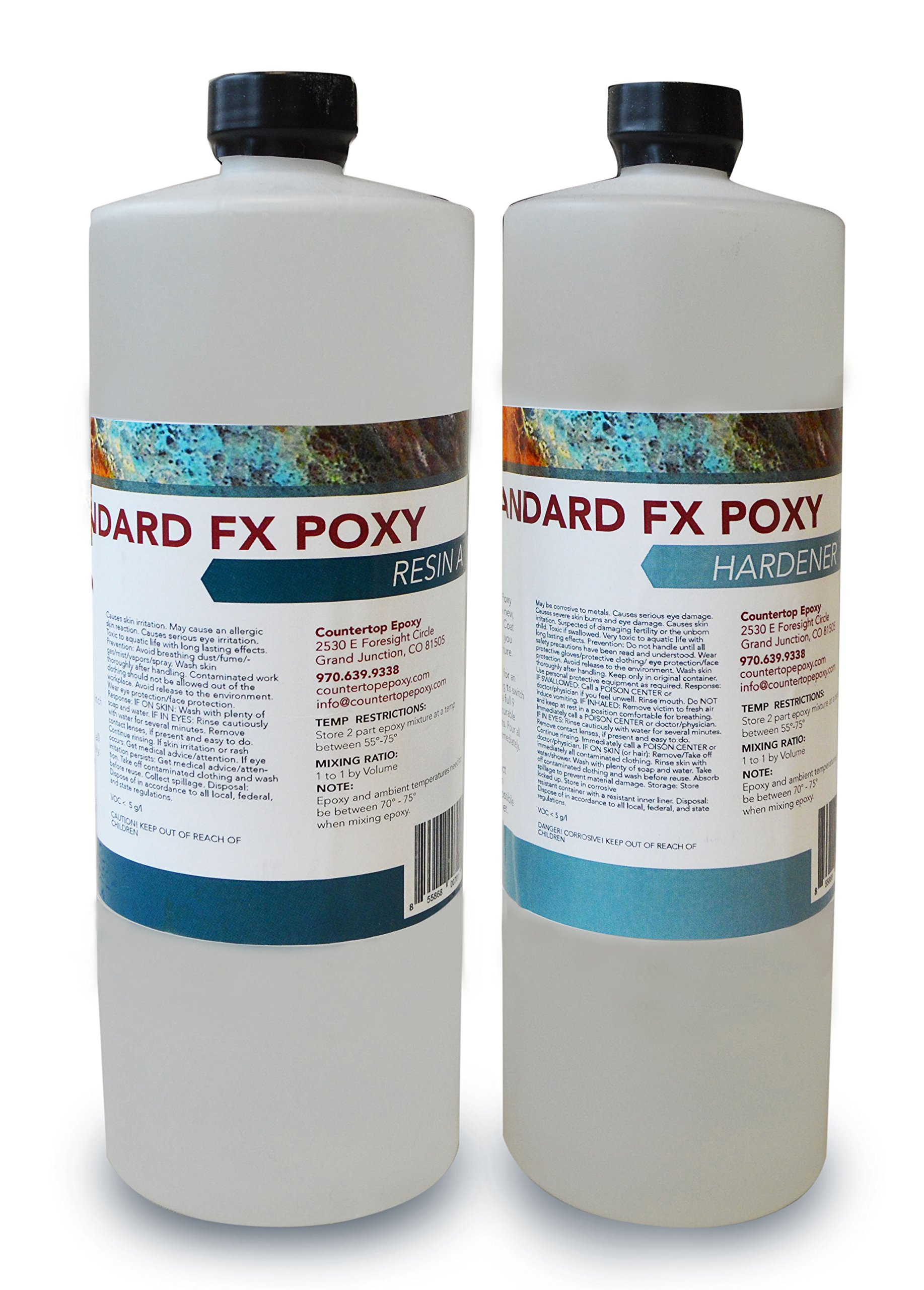 Countertop Epoxy - FX Poxy - UV Resistant Resin - 2 Quarts (Ultra Clear, 10 - 15 Sq Ft)