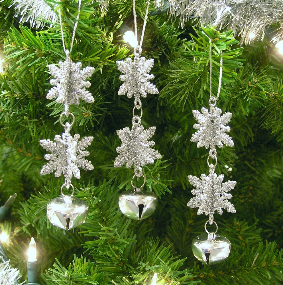 Amazon.com: 3D Snowflake Christmas Ornaments - Set of 12 - Silver ...