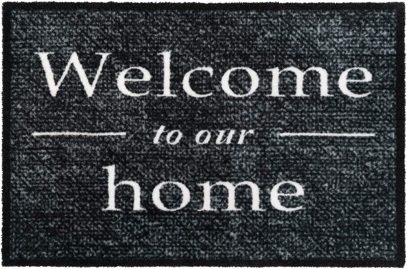 GadHome Welcome Felpudo de Puerta para Interior o Exterior 40x60cm, Gris | Welcome to Our Home Alfombra Antideslizante, Absorbente, Tapete de Puerta