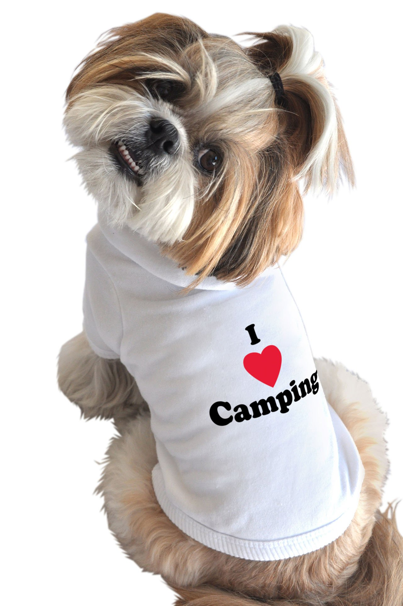 Ruff Ruff and Meow Dog Hoodie, I Love Camping, White, Medium