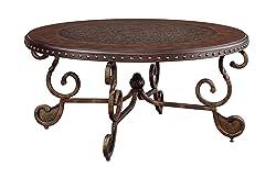 Ashley Furniture Signature Design - Rafferty Coffee Table - Cocktail Height - Round - Dark Brown