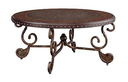 Ashley Furniture Signature Design   Rafferty Coffee Table   Cocktail Height    Round   Dark Brown