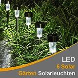 Luci solari, lampada solare da giardino kuxien 5pezzi LED lampada solare per il giardino di luci per esterni in acciaio inox solare sentiero Illuminazione Impermeabile perfetta per giardino, balconi e terrazze