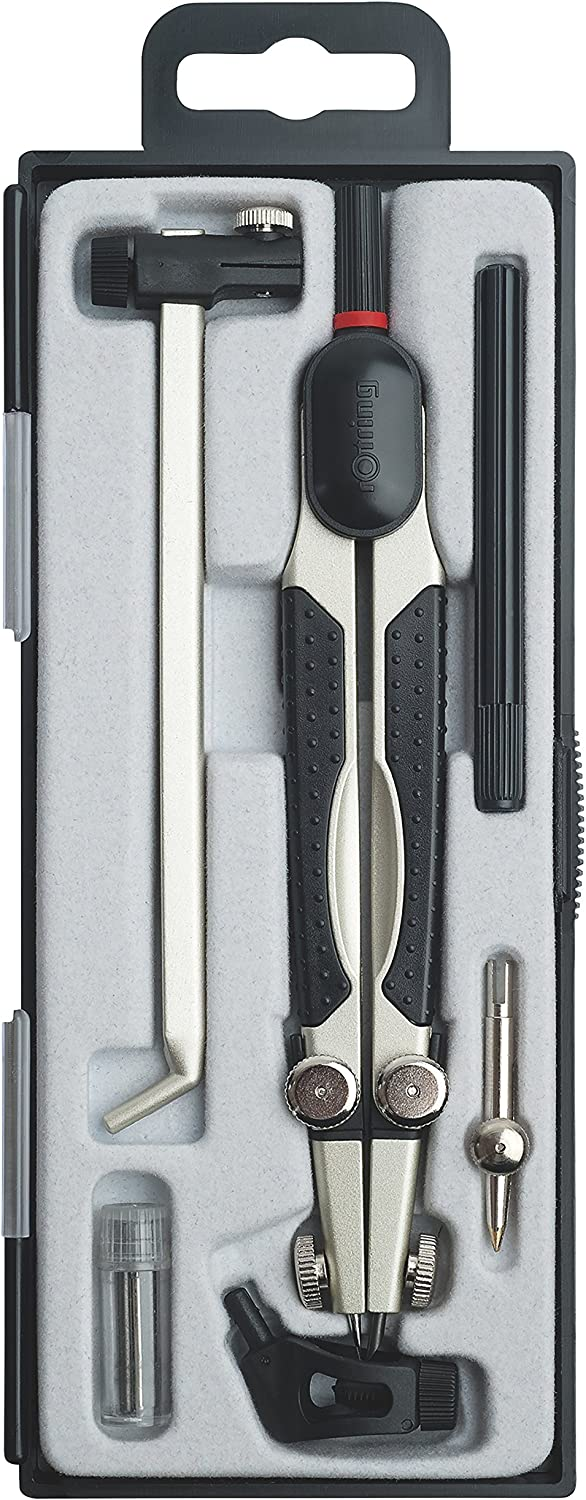 Rotring Compass Set 6 Piece with Extension Bar plus Ruling Pen and Extra Bow Compass Ref S0676560