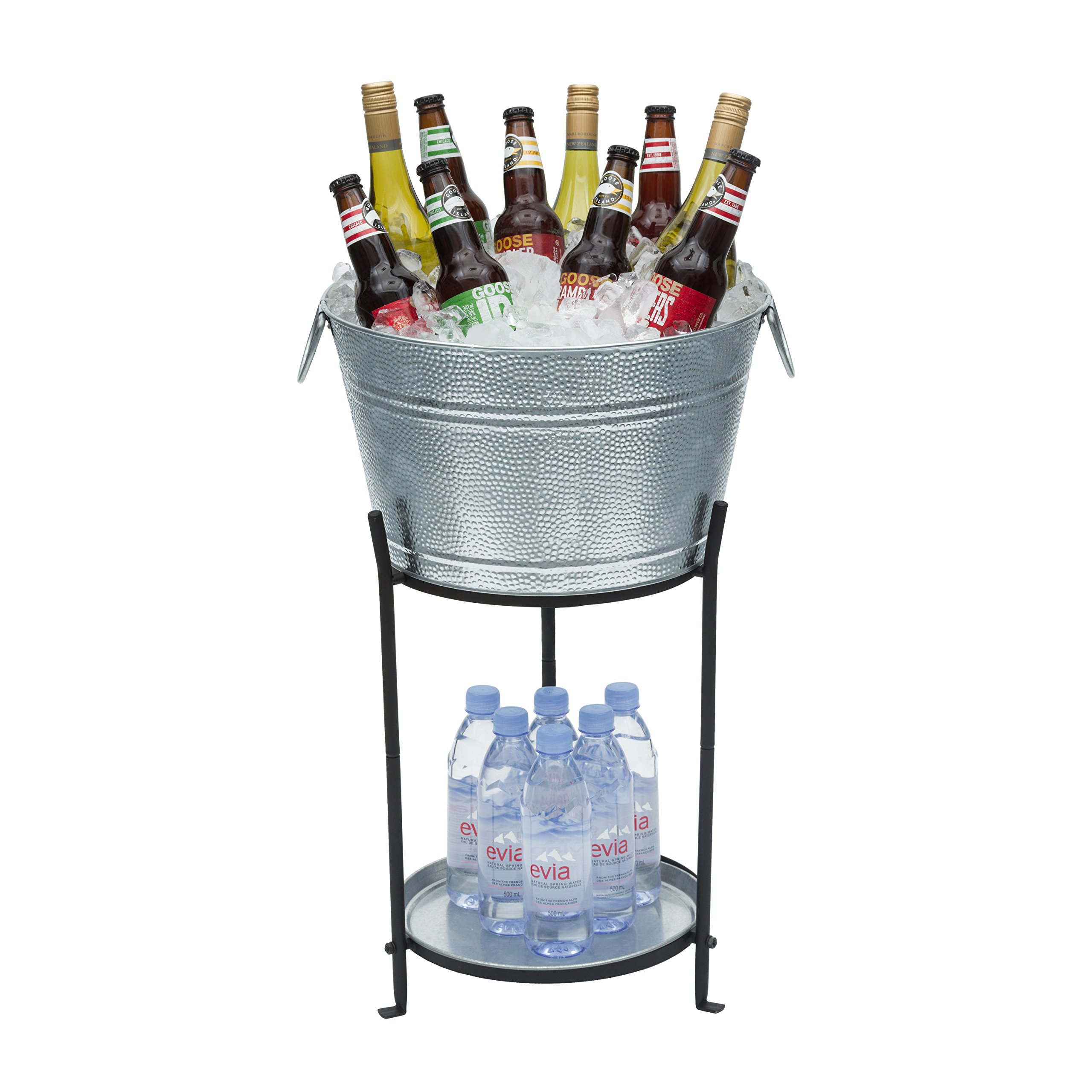 Ice Bucket With Stand and Tray. Galvanized Party Tub Is Perfect for Holding Beer, Wine, Champagne or Any Beverage. Large Size. Superior Construction, No Leaks or Wobbles. by My Amazing Ice Bucket