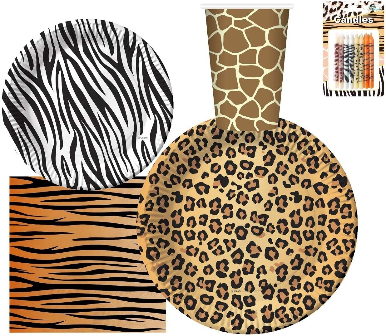 "Serves 30 | Complete Party Pack | Jungle Safari Zoo Animal Print Party Supplies | 9"" Dinner Paper Plates 