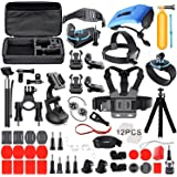 Deyard Kit di accessori Set con custodia per GoPro Hero 7 Hero(2018) GoPro Fusion GoPro Hero 6 Hero5 Session Hero Session Hero 5 Nero Hero 4 Argento nero, Xiaomi SJ4000 SJ5000, AKASO Crosstour Apeman Action Camera