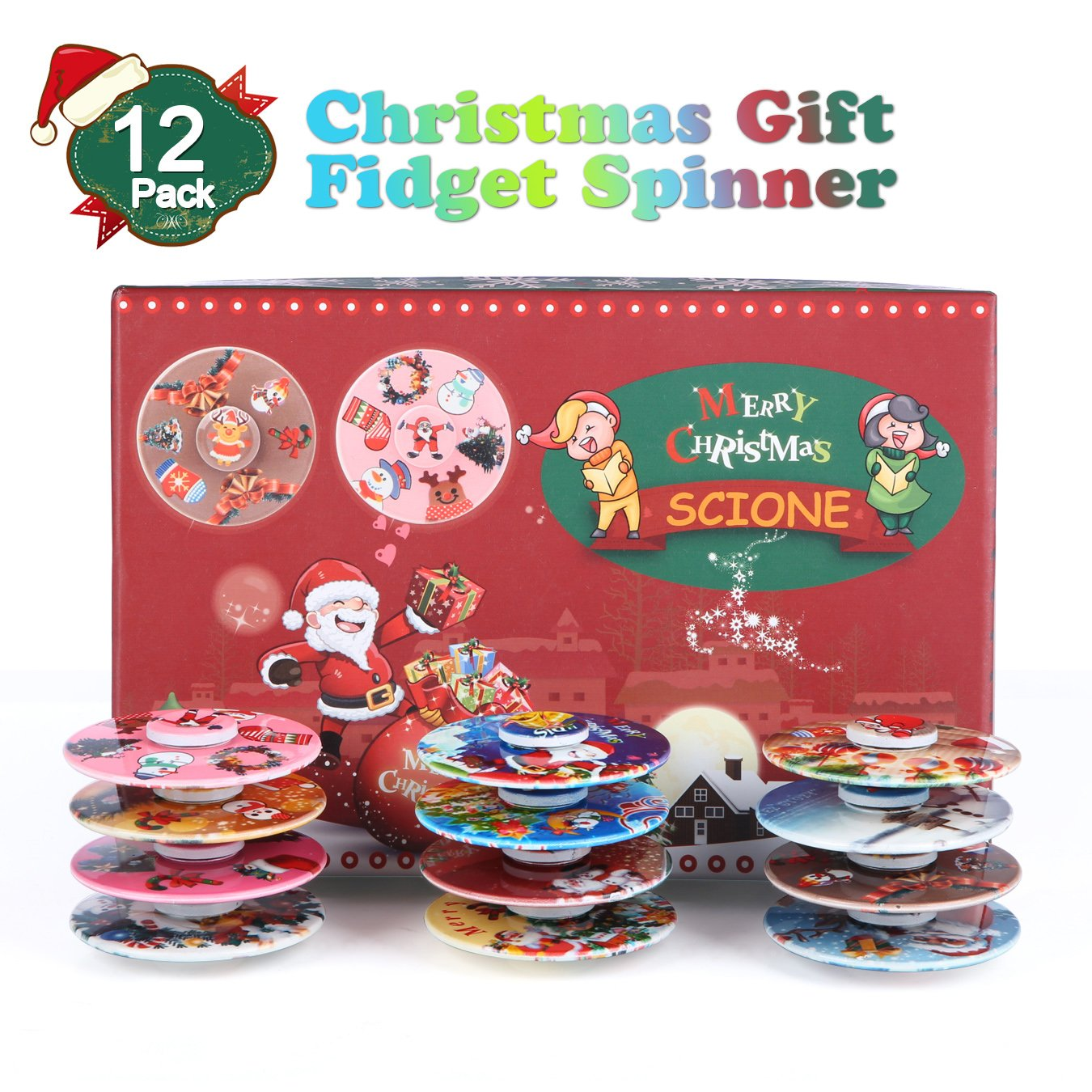 SCIONE Christmas Day Fidget Spinner 12 Pack ADHD Stress Relief Anxiety Toy Best Autism Hand spin for Adults Children Finger Toy with Bearing