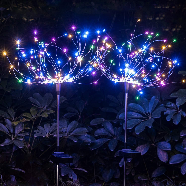 FANPING 2 Pack Outdoor Solar Starburst luci del Giardino luci solari dartificio Lights-Fai da Te Fiori Fireworks Alberi for Il Passaggio pedonale Patio Prato Backyard Christmas Party Decor