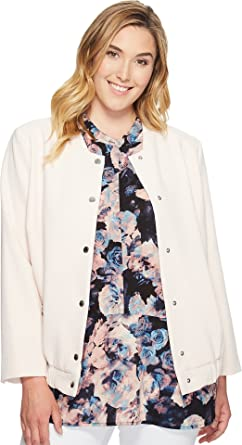 5f8ad468089 Vince Camuto Specialty Size Women s Plus Size Snap Front Blistered Texture  Bomber Jacket Pink Mimosa 2X