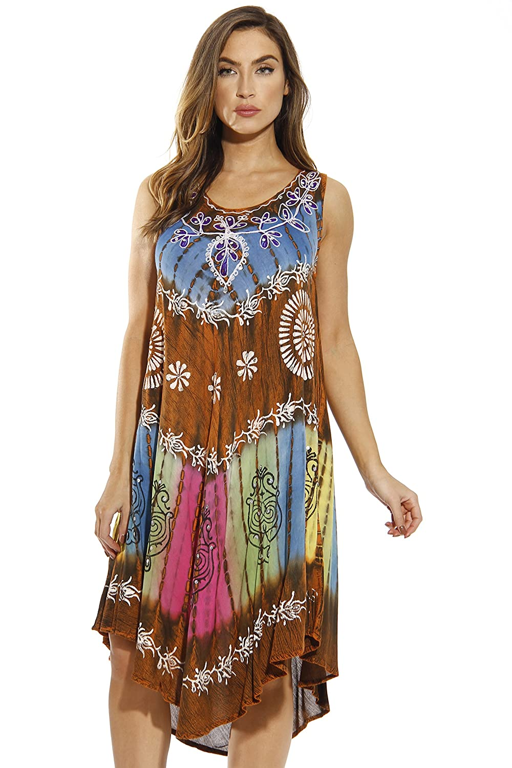 03514cba3d0fa Riviera Sun Summer Dresses Tie Dye Embroidered Beach Swimsuit Cover Up at  Amazon Women's Clothing store: