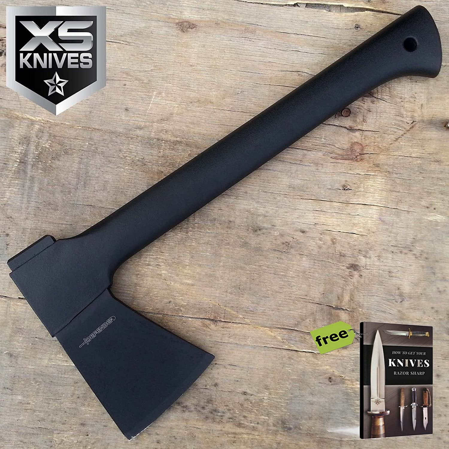 "14"" Heavy Duty Full Tang Tactical Hunting Fighting Axe Carbon Steel Sharp Blade Knife W/Nylon Sheath + Free Ebook durch Survival Steel"