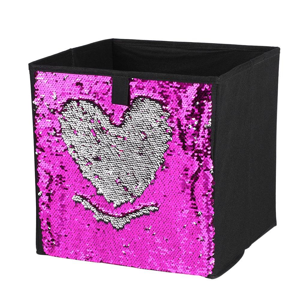 Walmeck Non-Woven Folding Large Cube Storage Bin DIY Sequin Storage Box Household Toys Books Clothes Sundries Organizer-Blue