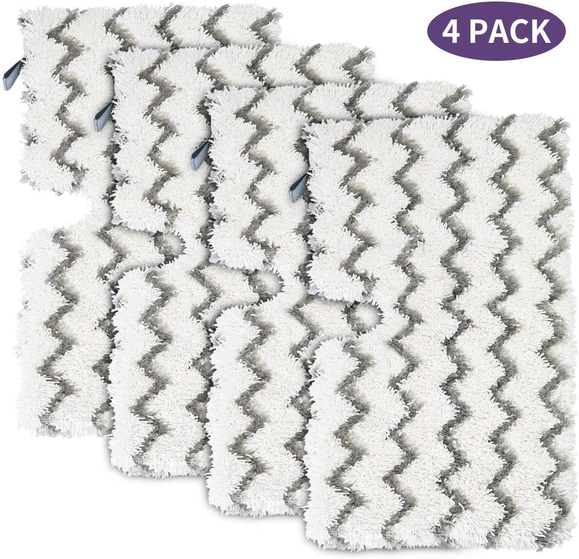 iSingo 4 Pack Shark Replacement Steam Mop Pads for Shark Steam Pocket Mop Hard Floor Cleaner S3501 S3550 S3601 S3601D S3801 S3801CO S3901 SE450 S2901 S2902, with Scrub Strips, Washable