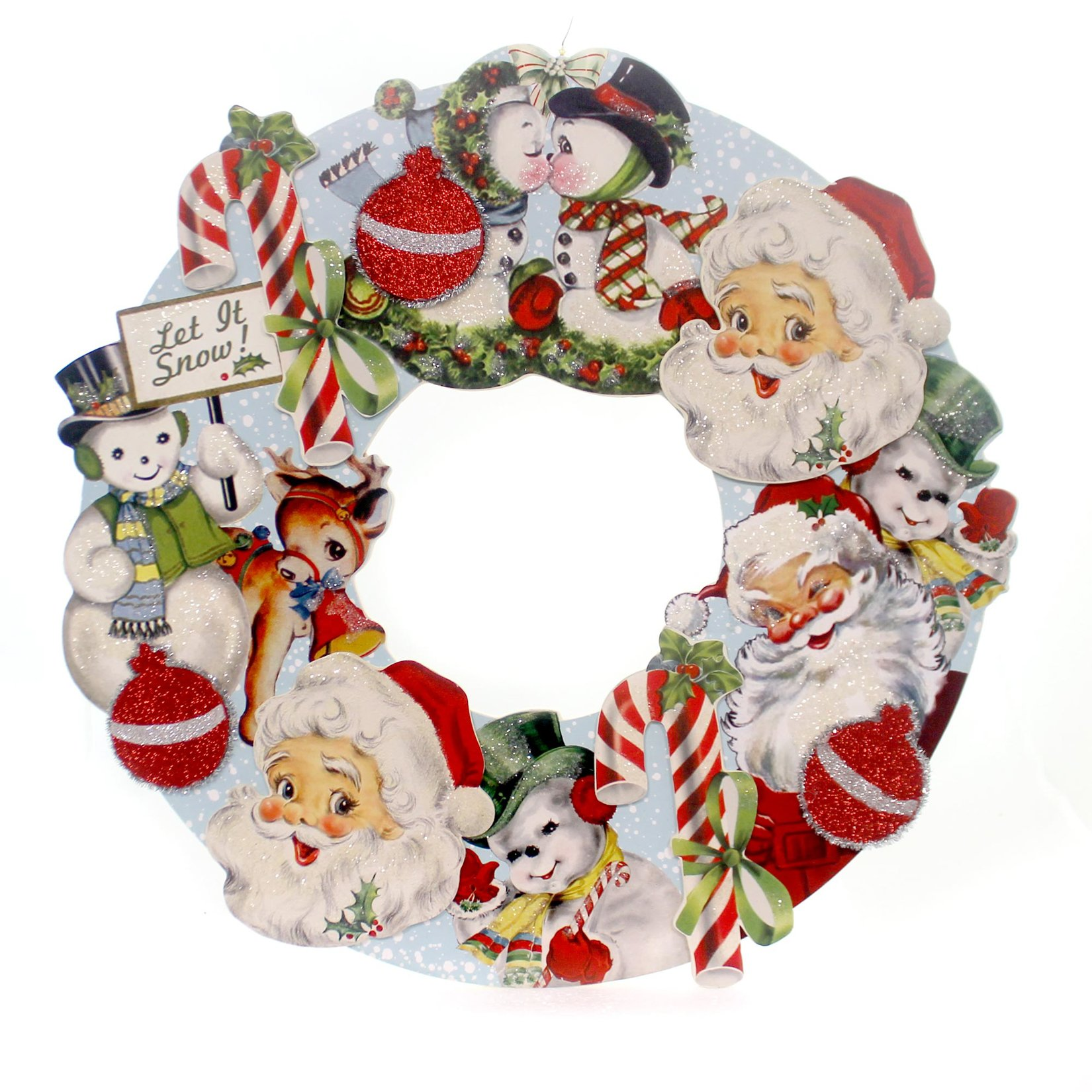 Christmas Retro DIE Cut Wreath Wood Santa Snowman Candy Canes Rl2905
