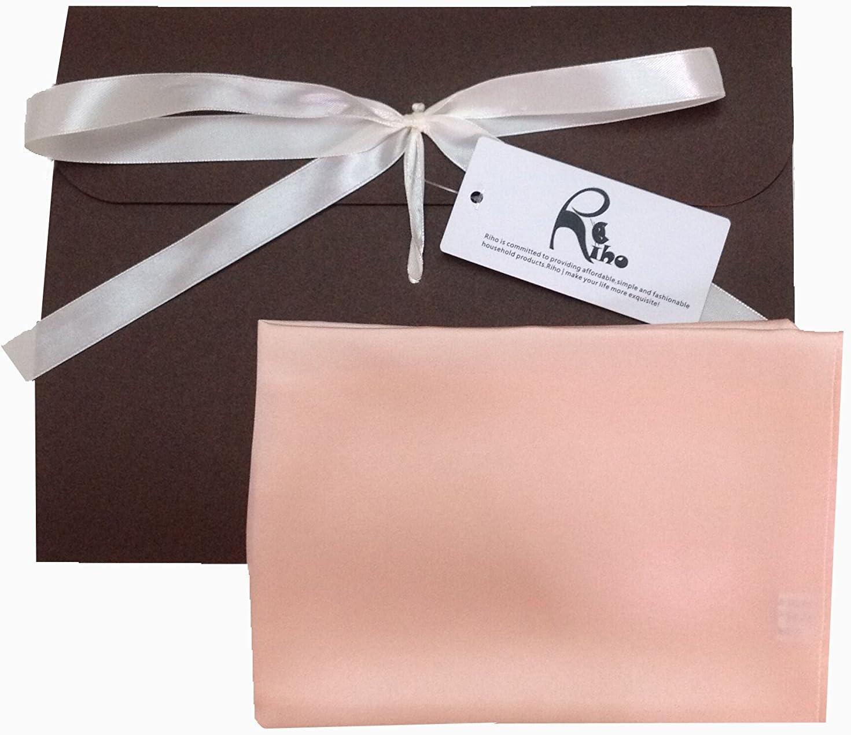 Riho 100% Mulberry Silk Handkerchief Pocket Square Scarf Washcloth 13.8 x 13.8- Inch